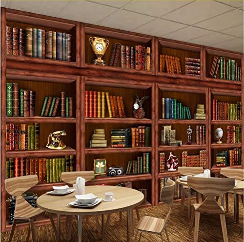 Syssyj Benutzerdefinierte 3D Fototapete WandhauptdekorationRetro Wohnzimmer Bücherregal Bücherregal 3D Hintergrund Wandmalerei-120X100CM