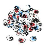P Prettyia 60 Stück Diy Kunststoff Cartoon Augen Flach Ton Tierpuppe Ovale Augen Spielzeug - gemischt, 14mmx19mm