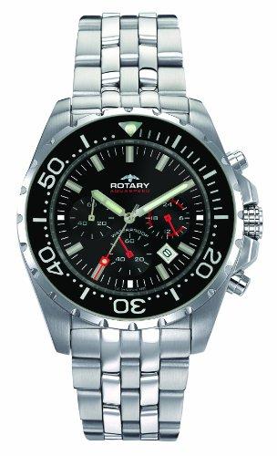 Rotary Herren Chronograph Quarz Uhr mit Edelstahl Armband AGB00013/C/04S