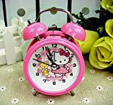 #6: RIANZ All New Girls Hello Kitty Table Desk Twin Bell Alarm clock with light for Kids and Best for Birthday Return Gifts (Small)
