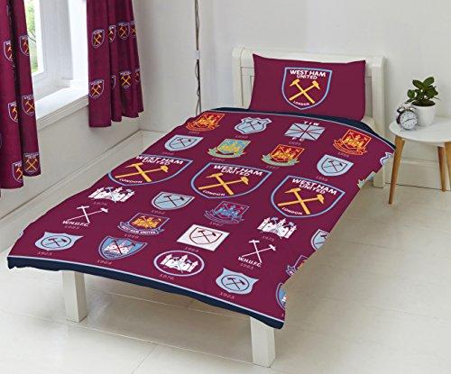 West Ham United FC Historical Crest Duvet Set, Polyester-Cotton, Multi-Colour, Single
