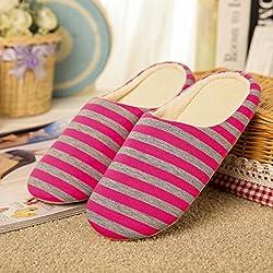 JIALONGZI Cómodo Zapatillas de casa de algodón Zapatillas de Interior Zapatillas de Deporte con Rayas Antideslizantes de Mujer y otoño de Invierno