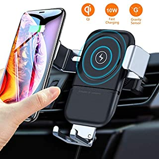 VANMASS Wireless Car Charger Mount,Auto-Clamping Adjustable Gravity Phone Holder,10W Qi Fast Charging Air Vent Car Cradle for Samsung Note 9 8 S10 S10+ S9 S8 S7 Edge, iPhone X XR XS Max 8 Plus,etc