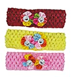 #3: Crochet Cutwork Flower Baby Headband ( Red , Yellow , Pink ) 3 Pcs Set