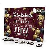 printplanet - Adventskalender Schokolade Löst Keine Probleme Aber Das TUT EIN Apfel ja auch Nicht - mit Schokolade - Design Weihnachtskalender, Schoko-Adventskalender mit Spruch