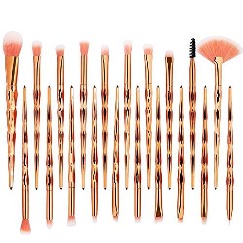 ZIMUUY 20 Pcs Kit De Pinceau Maquillage, Pinceau Fond de Teint, Pinceau à Poudre, Pinceau Ombre à Paupières, Pinceau Eyeliner avec jolie boîte à brosse multicolor (taille unique, B)