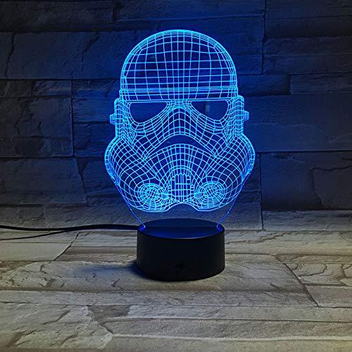 Wangzj 3d illusion night light/night light per bambini / 7 colori luce/comodino lampada da tavolo/bambini compleanno regali di natale/maschera guerriero