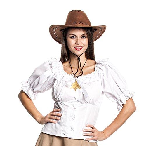 Kostüme Weste Kleid Cowgirl (Kostümplanet® Cowgirl-Bluse weiß für Damen Cowgirl-Kostüm)
