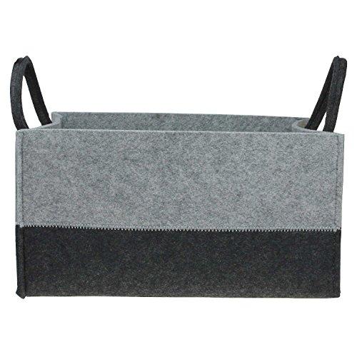 Hochwertige Filzkörbe recht-eckig grau-schwarz mit Henkel von MACOSA HOME, Regalkorb stabil und robust. Verschiedene Größen oder im 3er Set. Allzweckkorb Filz, Aufbewahrung, Filz-Box (M(34,5+23,6 cm))