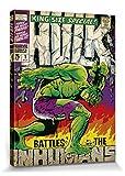 l'incroyable Hulk Poster Reproduction sur Toile, Tendue sur Châssis - Contre Les Inhumains, Marvel Comics (80 x 60 cm)