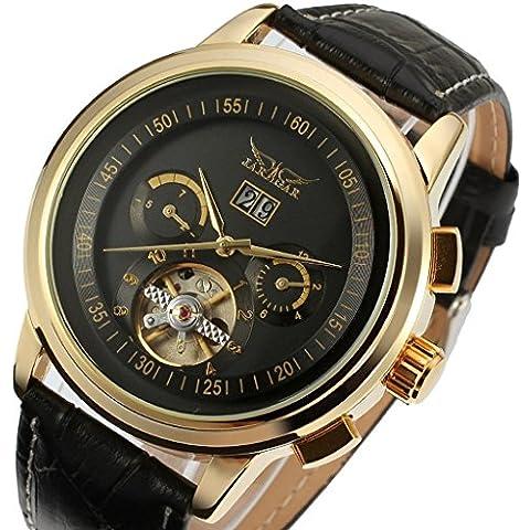 downj Fashion Original oro mecánico automático reloj de pulsera de acero inoxidable negro genuino banda reloj