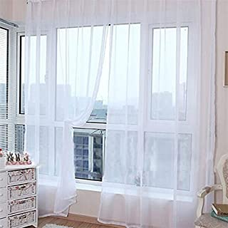 AFUT 100X200CM Fashion Solid Color Tulle Voile Door Window Curtain(White)