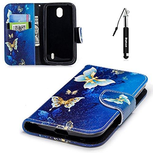 "Nokia 1 Hülle, Nokia 1 Tasche Leder, Huphant Flip Case Leder [Knife-Shaped Magnet Painting Serie]PU Leather Case Wallet Case Magnet Case Schutzhülle Klappbar für Nokia 1 (4,5\"") - Golden Butterfly"