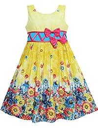 Mädchen Kleid Sonnenblume Garten Blume Drucken Baumwolle Gelb