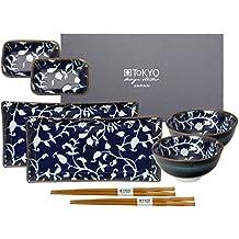 Tokyo Design Studio Fleur De Ligne Blue Sushi Set completo–8pezzi–per