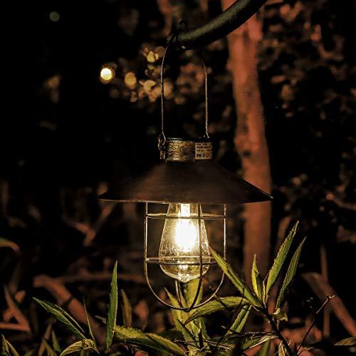 Solar-Laterne für den Außenbereich, kupferfarben, Vintage-Solarlampe mit warmweißen Glühbirnen für Garten und Hof, Weg