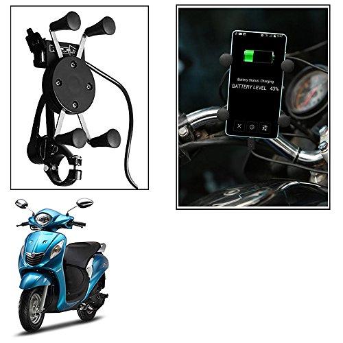 Vheelocityin Spider Bike Mobile Holder with USB Charger Mototrcycle Mobile Holder BracketFor Yamaha Fascino