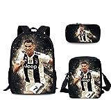 SJYMKYC Fußballstar Rucksack Juventus Soccer Club Rucksack Polyester Taschen Student/Kinder...