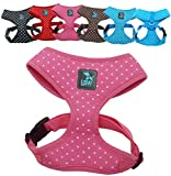 No Pull Small Dog - Pet Harness – Breathable Dotty Cotton Design – Range of Colours and Sizes (Pink Medium) (LSW Pet Design)