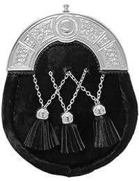 Tartanista - Sporran de hombre para kilt escocés de vestir - Cabecera celta con borlas - Negro