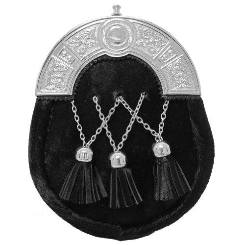 Preisvergleich Produktbild Eleganter Kuhfell-Sporran mit keltischem Zwiesel - Troddeln in V-Form - Schwarz