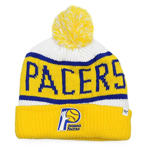 47 Brand Calgary Cuff Beanie Mütze POM POM - NBA Cuffed Knit Cap, Herren, Indiana Pacers - Throwback