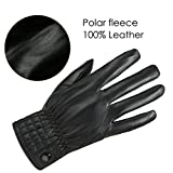 GLOUE PU Leather Men Gloves Magic Driving Motorcycle Linded Warm Super Soft Thermal Mittens Vintage Full-finger for Uni-sex Adults Winter Outdoor Windproof Gloves, Black