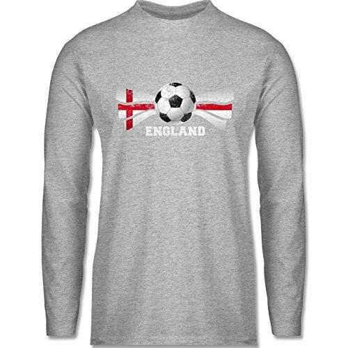 Fußball-WM 2018 - Russland - England Fußball Vintage - Herren Langarmshirt Grau Meliert