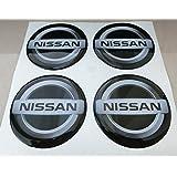 Nissan negro 60MM Tuning 3d 3m resinato coprimozzi Nissan Remaches Caps pegatinas stickers X 4piezas Evalia 370Z Juke Pathfinder X-Trail Micra Leaf Note Gtr