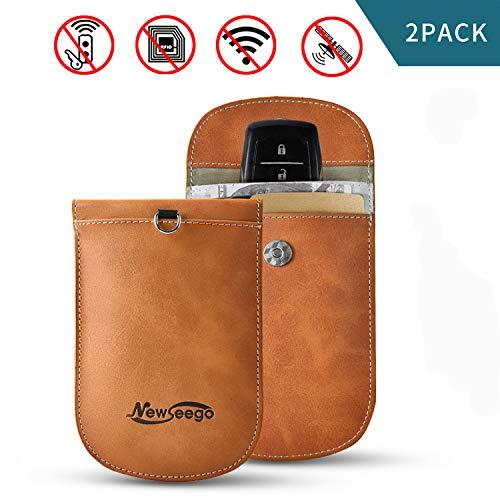 Newseego 2 x Caso del Bloqueador de la señal del Coche Clave, Bolso Faraday RFID | Bolsa de Bloqueo de señal para Llavero, Entrada sin Llave de Faraday Premium (Amarillo)