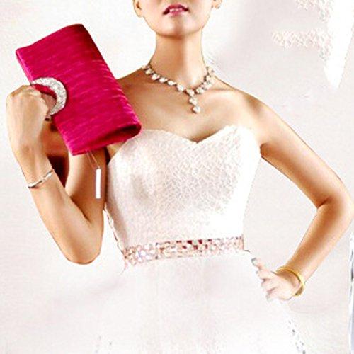 Sasairy 28.5x13x4cm Donna Mini Pochette Eleganti da Sera Piccolo Cerimonia Borsa della Matrimonio con Catena Portafoglio per Cocktail Party Rosso Scuro/Bianco/Nero Rosa scuro