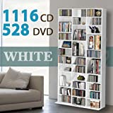 1116 CD/528 DVD Storage Shelf Rack Unit Adjustable Book Bluray Video Games(White)