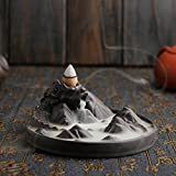 Jeteven Dragon Cone Incense Burner Ceramic Backflow Dragon Smoke Holder''Dragon Mountain''