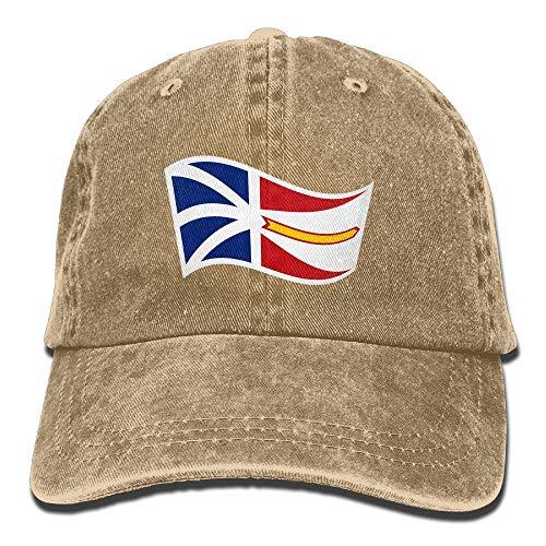 Vidmkeo Erwachsene Newfoundland und Labrador Flagge Wave Washed Denim Baumwolle Sport Outdoor Baseball Cap Einstellbar One Size Royalblue ()