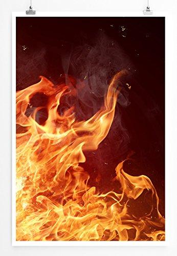 Eau Zone Home Bild - Art Fotos - Flammendes Feuer bei Nacht- Poster Fotodruck in höchster Qualität