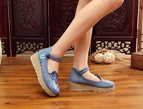 Insun Damen Pumps Mit Keilabsatz Mary Jane Schuhe Blumenmuster Bestickte Espadrilles Blau