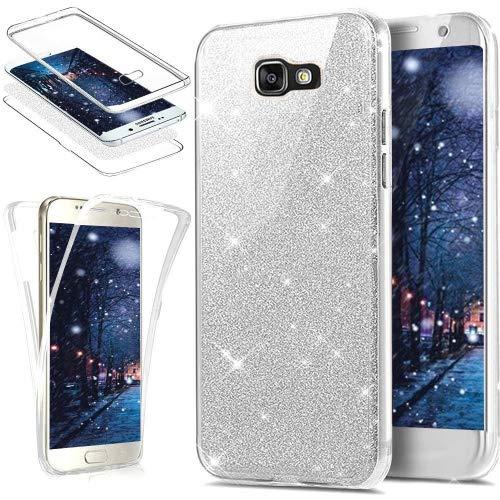 Galaxy A3funda de 2017, ikasus [360de cuerpo entero cobertura protección] cristal transparente ultrafina con lentejuelas Glitter Bling delantera y trasera completa cobertura suave transparente TPU de goma–carcasa de silicona para Samsung Galaxy A3(2017) sm-a320F 4.7, '