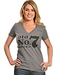 Jack Daniel Women's Grey V-Neck T-Shirt