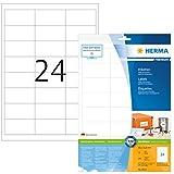 Herma 8633 Universal Etiketten (66 x 33,8 mm) weiß, 240 Aufkleber, 10 Blatt DIN A4 Premium Papier matt, bedruckbar, selbstklebend