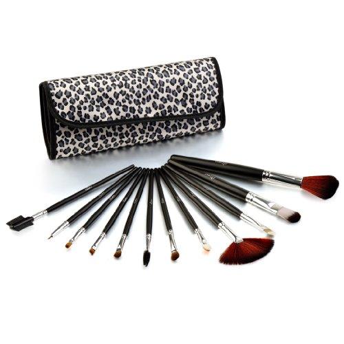 Glow 12 pinceaux maquillage trousse, léopard noir