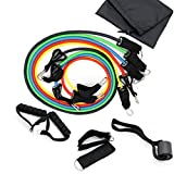 Exercise Band Kit Resistance Bands Set Fitness Tubes Fitness Tubes Ropes 11PCS with Door Anchor, Ankle Straps, Comfortable Handles and Carrying Pouch for Building Muscle, Fat Loss, Rehabilitative Exercises, Indoor or Outdoor Use