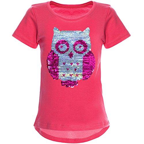 BEZLIT Mädchen Wende-Pailletten T-Shirt Tollen Eulen Motiv 22031 Pink Größe 104 -