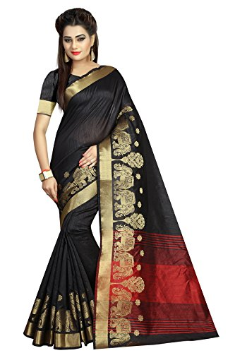 J B Fashion Women's Cotton Silk black Saree With Blouse Piece(sarees for...