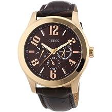 Guess W0008G3 - Reloj analógico de cuarzo para hombre con correa de piel, color marrón