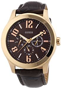 Guess Herren-Armbanduhr XL Scout Multifunktion Analog Quarz Leder W0008G3