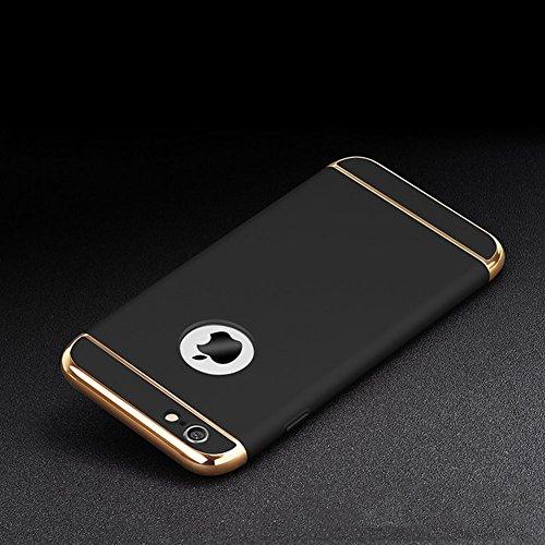 Custodia per Apple iPhone 7 Plus (5.5) Cover,Herzzer Mode Creativo Elegante Hard PC 3-in-1 Placcatura Opaco plating Rosso Bumper caso,protettiva in plastica duro della copertura ha placcato il Cassa  Nero