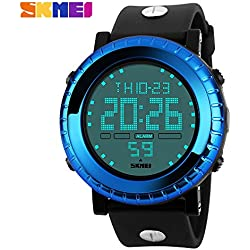 Outdoor fashion sports waterproof watch sports watches mountain climbing scratch Japanese electronic movement table male watch 50m waterwroof sport watch(Blue)