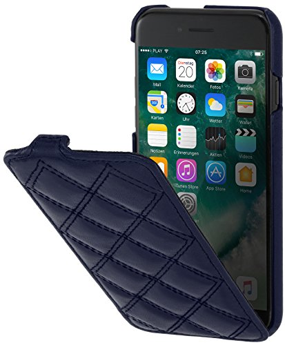 StilGut UltraSlim Case Hülle Leder-Tasche für iPhone 8 Plus & iPhone 7 Plus. Dünnes Flip-Case aus Echtleder für das Original iPhone 8 Plus & iPhone 7 Plus (5,5 Zoll), Schwarz Dunkelblau Nappa - Karat