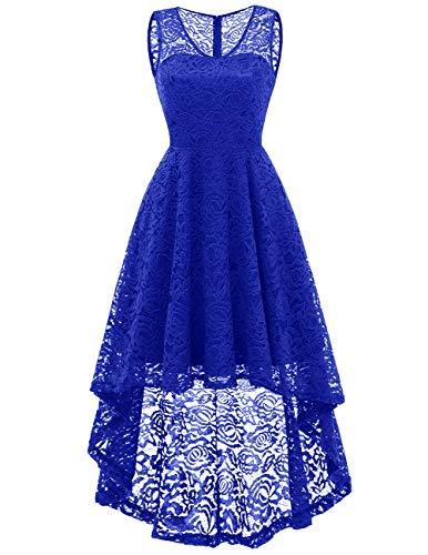 Dresstells Damen Spitzenkleid Abendkleider elegant für Hochzeit V-Ausschnitt Unregelmässig Hi-Lo...