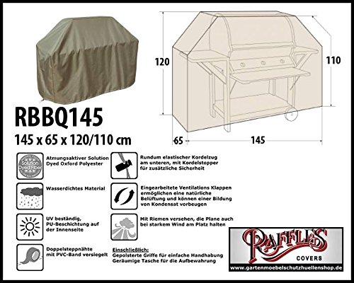 Raffles Covers RBBQ145 Grillabdeckung 145 x 65 H: 120/110 cm Wetterschutzhülle für Grill, Abdeckplane BBQ